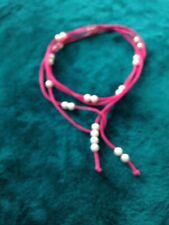 """Boho Beaded Lariat 70"""" 25 moveable pearlized beads faux suede pink cord"""