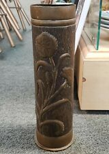 1917 World War I Canadian Trench Art Floral Motif Artillery Shell Vase