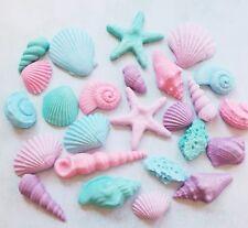 24 pastel Mermaid Shells & pearls,fondant cupcake toppers Wedding,decoration
