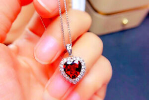 Red Heart Stone Pendant 925 Sterling Silver Necklace Chain Women Jewellery Gift