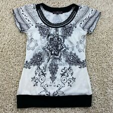 almost famous womens large short sleeve embellished shirt black white
