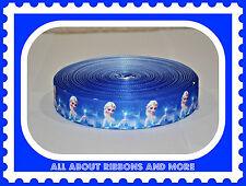 "7/8"" FROZEN ELSA ON ROYAL BLUE GROSGRAIN RIBBON- 1 YARD"