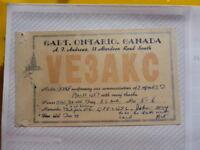 OLD VINTAGE QSL HAM RADIO CARD. GALT, CANADA. 1957