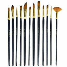 12Pcs Professional Artist Soft Paint Brush Set Oil Acrylic Watercolour Art