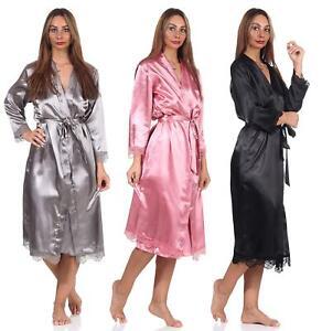 Damen Morgenmantel Kimono Seidenrobe mit Spitze;