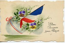 WW1 / CARTE POSTALE PEINTE / DRAPEAU / BON SOUVENIR POUR PAQUES