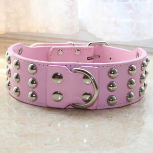 """2"""" Leather Studded Dog Collar for Large Pitbull Mastiff Terrier Bully M L XL"""