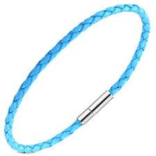 Zense - Bracelet homme fin en cuir tressé bleu fermoir acier ZB0222