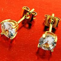 STUD EARRINGS GENUINE REAL 18K YELLOW G/F GOLD PRINCESS CUT DIAMOND SIMULATED