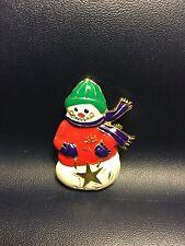 Christmas Jewelry Enamel Winter Snowman Brooch Pin Gold Star