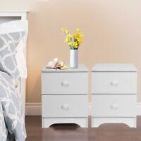 Set of 2 Nightstand End Table Bedroom Bedside Furniture w/2 Drawer Storage Wood