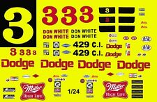 #3 Don White Dodge Charger 1968-70 1/24th - 1/25th Scale Waterslide Decals