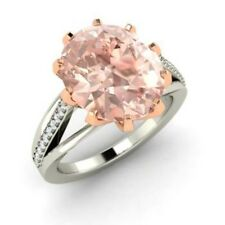 3.20 Ct Oval Natural Morganite Real Diamond Engagement Ring 14K White Gold