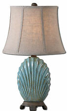 "Seashell Ceramic Buffet Table Lamp, Blue/Chocolate Bronze 23""H- Uttermost 29321"