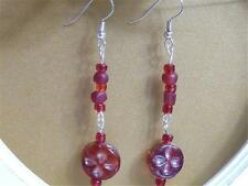 Beads - Free Uk P&P Hm645.Dangle Earrings - Red Lampwork