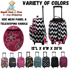 Luggage Rolling Backpack With Double Wheels Shoulder Straps Pocket Organizer 17