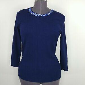 Liz Claiborne Career Blue Sweater Beaded Jewel Neck Womens Size S