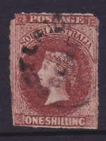 SOUTH AUSTRALIA EARLY 1865 1/- BROWN QV SIDEFACE ROULETTED FINE USED (HJ307)