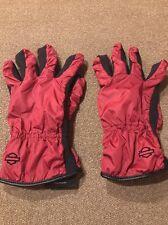 Women's Harley Davidson Maroon/Black Nylon gloves size Large (JB)