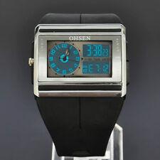 Sport Mens Digital LCD Date Analog Big Face OHSEN Quartz Wrist Rubber Watch C16