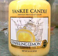 "Yankee Candle ""SPARKLING LEMON"" Fruit Scented Large 22 oz.~ WHITE LABEL ~ NEW!"