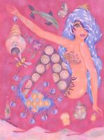 QUEEN BEE MERMAID HIVE PLUMS VIOLET TEAPOT PINK SURREALISM MINIATURE ART PRINT