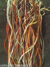 Whiting/Metz Natural MIX of LONG Rooster Saddle Hackle Feathers Grizzly