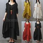 S-5XL Zanzea Women V Neck Long Sleeve Mori Girl Casual Cotton Big Skirt Dress