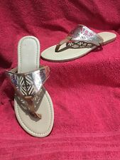 Primark Flat Sandals Tan And Gold Size 7