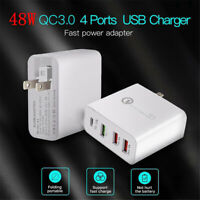 4-Ports 18W USB Type-C QC3.0 PD Mobile Phone Fast Charging Wall Charger Adapter