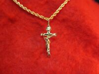 "14 KT GOLD EP  CRUCIFIX CROSS 1 1/8"" CHARM PENDANT WITH A 16""  ROPE CHAIN -2056"