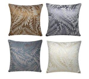 "Self Embossed Leaves Print Plush Chenille Cotton 17"" Cushion Cover Pillowcase"