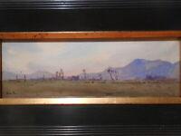 Tableau ancien peinture Lucien PERI paysage volcanique montagne volcan Auvergne?