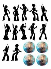 Disco Dance Silhouette and Disco Balls Edible Icing Decor for Cakes