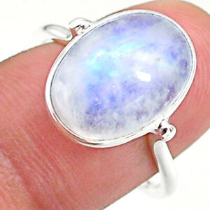 5.87cts Solitaire Natural Rainbow Moonstone Oval 925 Silver Ring Size 8 T34658