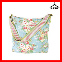 Cath Kidston Cross Body Messenger Tote Bag Fabric Cotton Large Blue Floral Y9