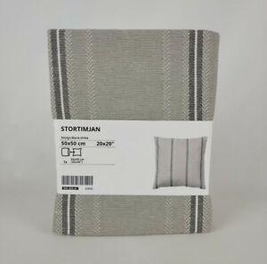 "Ikea STORTIMJAN Cushion Cover 20 x 20"" Grey / White Striped 905.069.67  New"