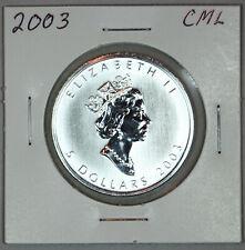 2003 UNCIRCULATED CANADIAN MAPLE LEAF, 1oz 0.9999 FINE SILVER