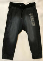 Gymboree Boys Size XXS 3 Joggers Slouch Black Denim New