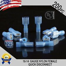 16-14 GAUGE 200 PC NYLON FULLY INSULATED QUICK DISCONNECT FEMALE .250 CONNECTOR