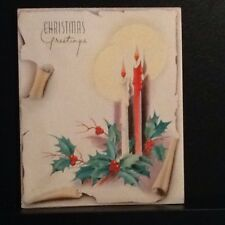 VTG CHRISTMAS GREETING CARD BURNING CANDLES SHADOWS CURLED PAPER HOLLY UNUSED