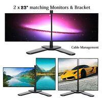 "2x23"" Full HD Computer PC Widescreen Monitors DVI VGA 1920x1080p New Dual Stand"