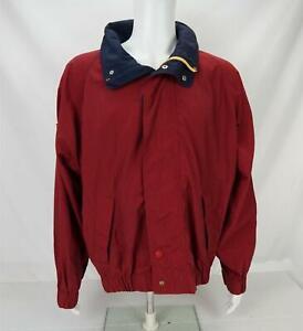 VTG Tommy Hilfiger Spellout Hooded Bomber Jacket Red/Blue Men's Large