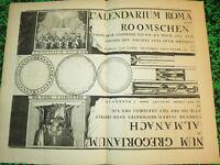 Jacobus HARREWIJN (1660-1727) CURIEUSE GRAVURE ALMANACH CALENDRIER VATICAN PAPE