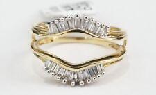 14k Yellow Gold Baguette Diamonds Solitaire Enhancer Wedding Ring Guard Wrap .27