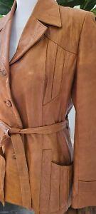 Vtg 70's 80'S WILSONS Sz 14 Caramel Brown Belted Jacket EUC