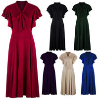 Vintage 1920s V Neck Flapper Dress Flutter Sleeves Bowknots 50s Swing Dresses
