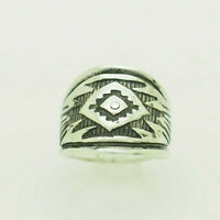 Vintage Sterling Silver/925 Black Enamel Dome Cocktail Ring 6.5