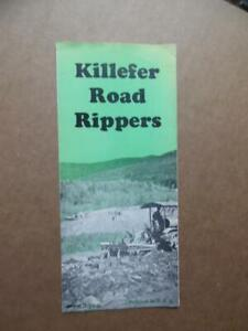 1930 Killefer Manufacturing Co Road Rippers Brochure Construction Pre-John Deere
