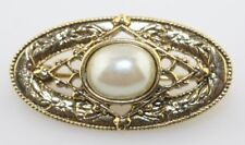 Vintage gold tone filigree oval white cream imitation faux mabe pearl Pin Brooch